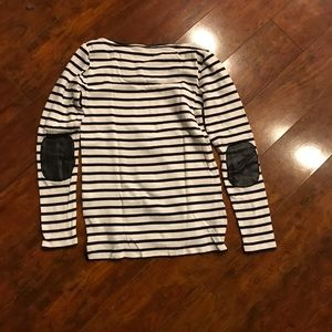 Ann Taylor striped black and white long sleeve top